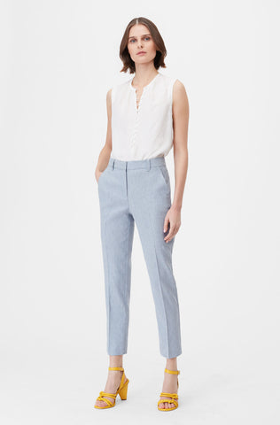 Tailored Stretch Linen Blend Pant in Cornflower