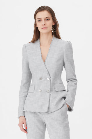 Tailored Slub Suiting Jacket in Grey/Snow