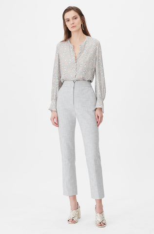 Tailored Slub Suiting Pant in Grey/Snow