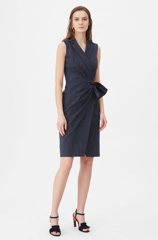 Tailored Pinstripe Suiting Wrap Dress in Navy Combo