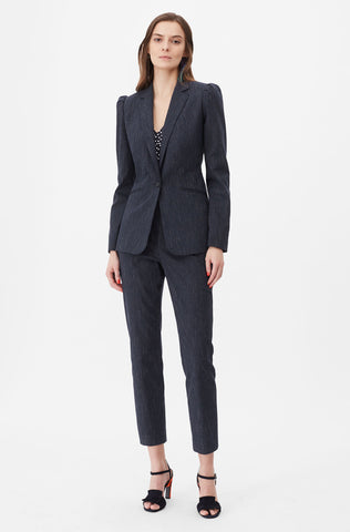 Tailored Pinstripe Suiting Blazer in Navy Combo