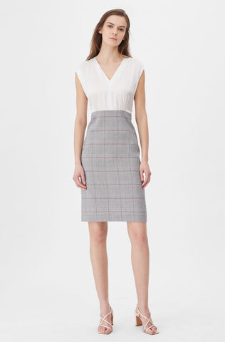 Tailored Summer Check & Silk Dress in Grey Combo