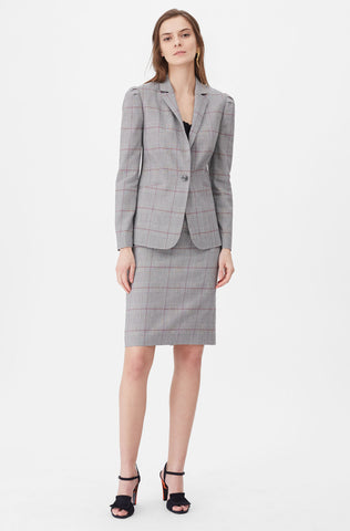Tailored Summer Check Jacket in Grey Combo