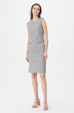 Tailored Summer Check Skirt in Grey Combo