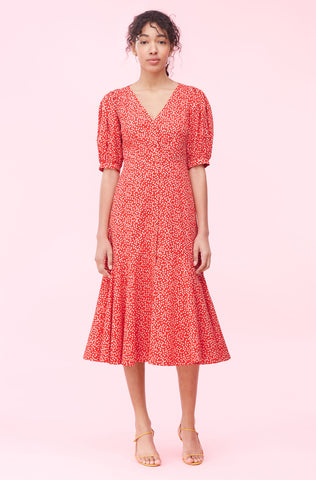 Malia Floral Poplin Dress in Cherry Combo