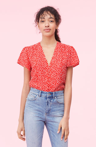 Malia Floral Jacquard Top in Cherry Combo