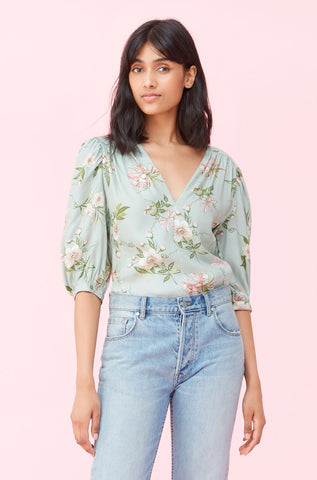 Lita Floral Silk Twill Top in Mint