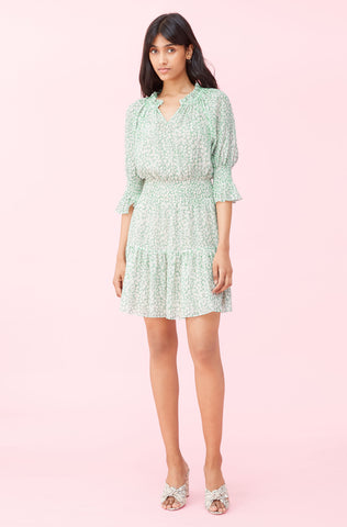 Ikat Leaf Lurex Dress in Jade Combo