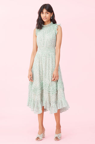 Ikat Leaf Lurex Smocked Dress in Jade Combo
