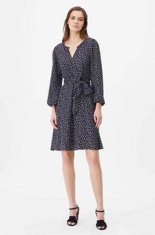 Tailored Pearl Dot Jacquard Dress in Navy Combo