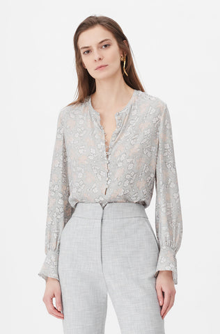 Tailored Aime Jacquard Top in Grey Combo