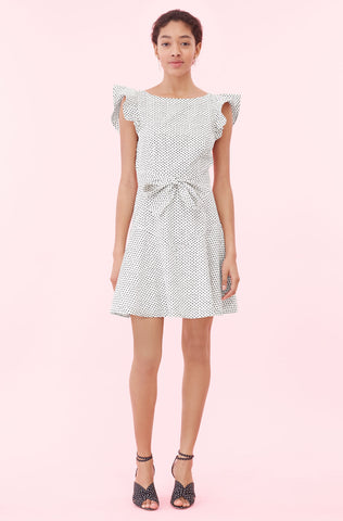 La Vie Corinne Dot Dress in Pearl Combo