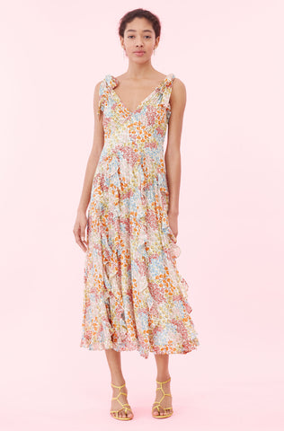 Ava Floral Ruffle Tank Dress in Multi Combo
