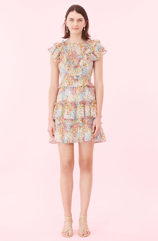 Ava Floral Ruffle Dress in Multi Combo