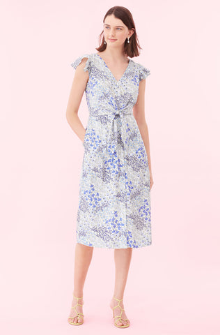 Ava Floral Tie Waist Dress in Cream/Blue Combo