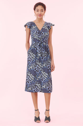 Ava Floral Tie Waist Dress in Navy Combo