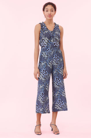 Ava Floral Smocked Pant in Navy Combo