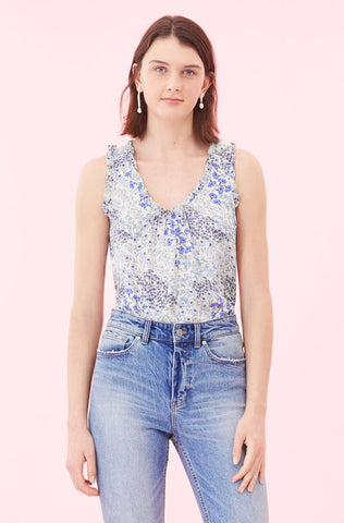 Ava Floral Tank in Cream/Blue Combo