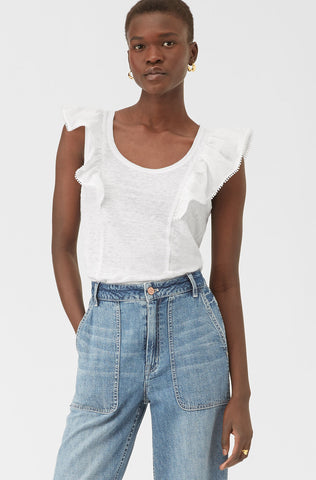 La Vie Bauble Trim Jersey Top in Milk
