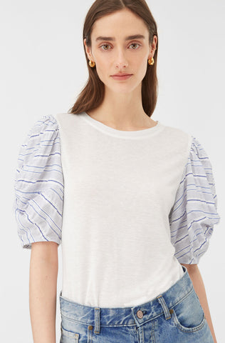 Clean Jersey Stripe Top in Snow