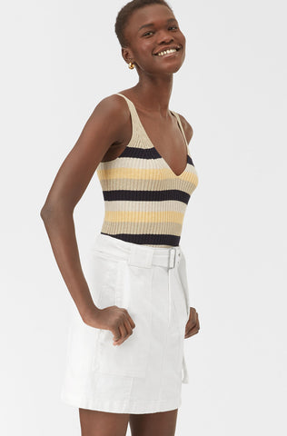 La Vie Striped Ribbed Tank in Lemon Stripe