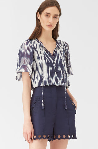 Indigo Ikat Silk Top in Indigo Combo