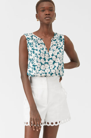 Serene Fleur Print Mix Top in Palm Combo