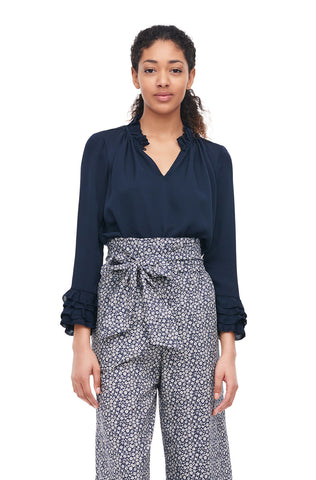 Silk Double Georgette Ruffle Top in Navy
