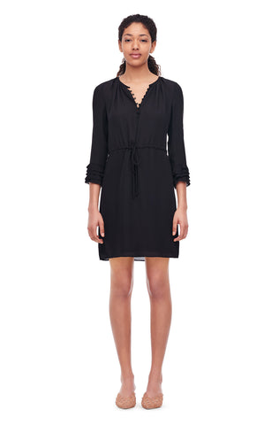 Silk Double Georgette Shirtdress in Black
