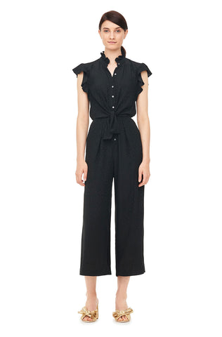 Heart Jacquard Silk Jumpsuit in Black