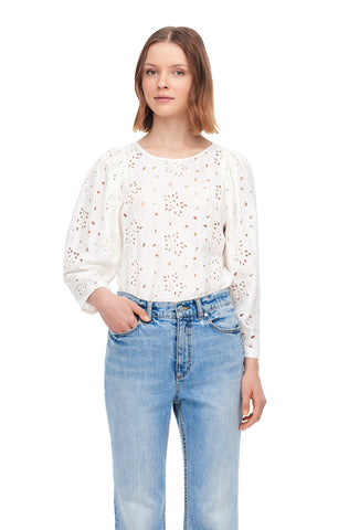 Sarah Embroidered Silk Top in Snow