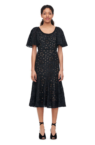 Sarah Embroidered Silk Dress in Black