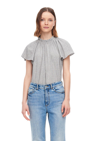 La Vie Washed Textured Jersey Ruched Tee in Grey Heather