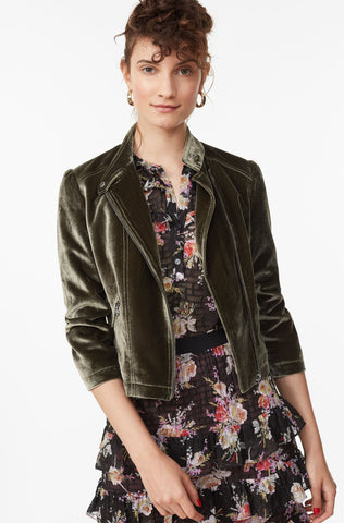 Velvet Moto Jacket in Army