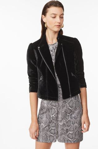 Velvet Moto Jacket in Black