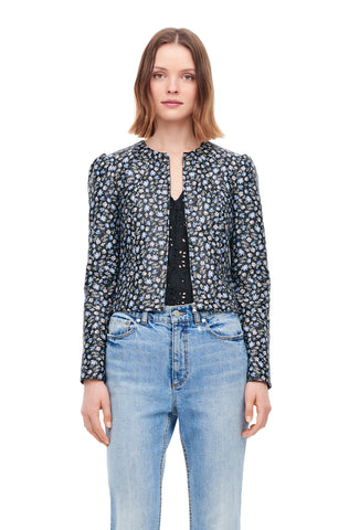 Zelma Floral Leather Jacket in Black Combo