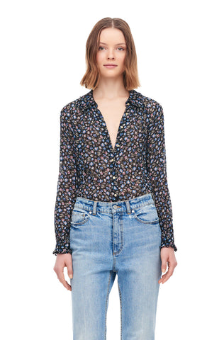 Zelma Floral Clip Top in Black Combo