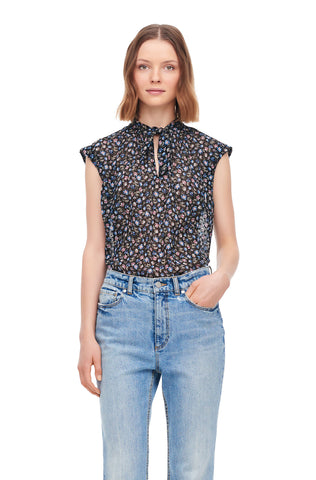 Zelma Floral Clip Tie Top in Black Combo
