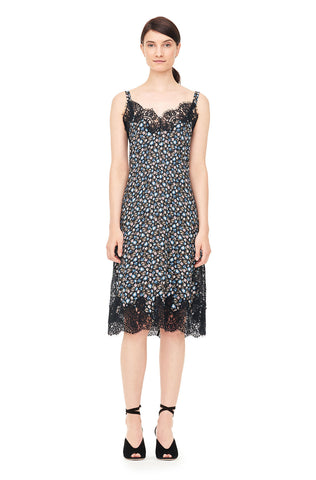 Zelma Floral Silk Slip Dress With Lace in Black Combo