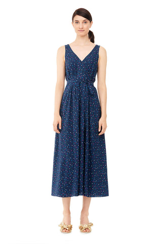 Speckled Dot Silk Midi Dress in Navy Combo