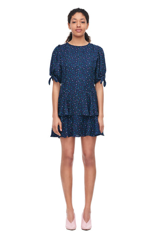 Speckled Dot Silk Jacquard Dress in Navy Combo