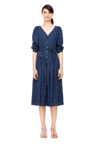Speckled Dot Silk Jacquard V-Neck Dress in Navy Combo