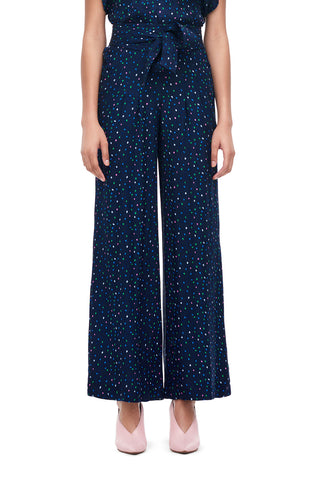 Speckled Dot Silk Jacquard Pant in Navy Combo