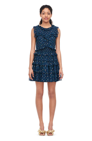 Speckled Dot Metallic Clip Ruffle Dress in Navy Combo