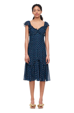 Speckled Dot Metallic Clip Dress in Navy Combo