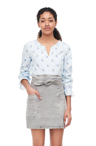 La Vie Genevieve Leaf Poplin Top in Illusion Blue