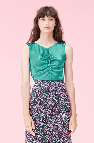 Silk Charmeuse Ruched Top in Malachite