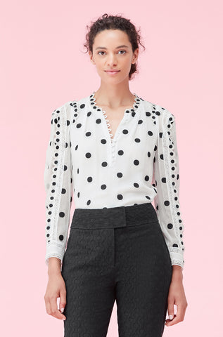 Dot Embroidered Top in Ivory Combo