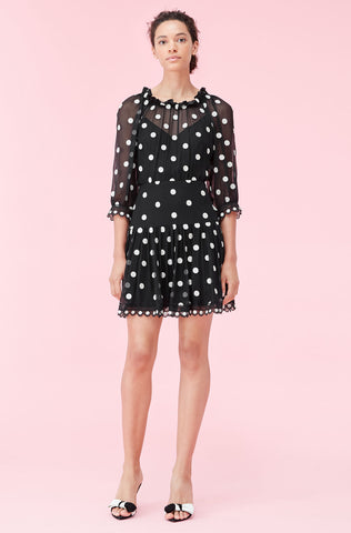 Dot Embroidered Dress in Black Combo