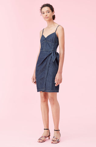 La Vie Drapey Denim Wrap Dress in Rinse Wash